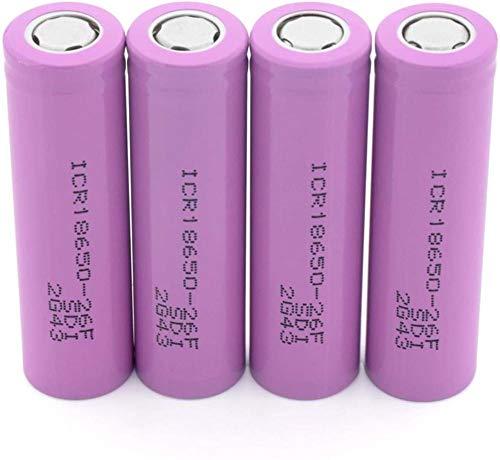 Batinas de Litio Recargables de Punto de Soft Pink ICR 18650-26F Batería protegida con 3,7 V 2600mAH Ion de Litio Plana Plana PCB-4 Piezas