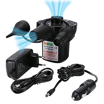 Cadrim Pompe Electrique, Pompe à air, Pompe gonfleur électrique Matelas Gonflable, Camping, Coussin Gonflable, Lit, Bateau,Anneau de Natation(AC 220V-240V et DC12V)
