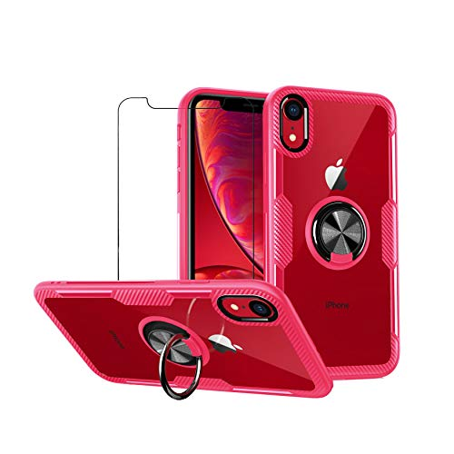 mvced Funda Compatible para iPhone XR Case con 360° Giratorio Metal Anillo, Slim Transparente Carcasa Bumper,Rojo