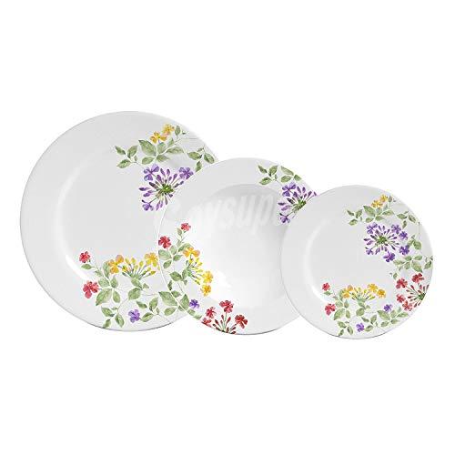 Santa Clara Melisa-Vajilla Porcelana 18 Piezas Blanca Decorada