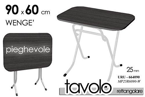 TAVOLO TAVOLINO RETTANGOLARE PIEGHEVOLE RICHIUDIBIOLE PIANO WENGE' NERO STRUTTURA URU-664090
