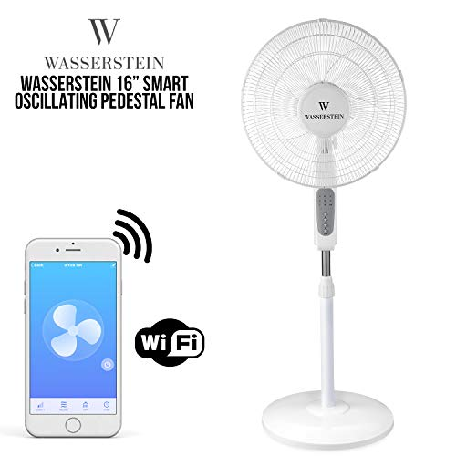 "Wasserstein 16"" Smart Oscillating Pedestal Fan Compatible with Amazon Alexa and Google Home - Operate via Voice Command, App or Remote Control"