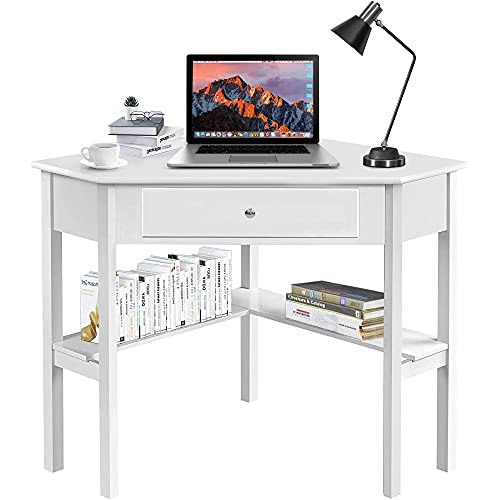 windaze White Corner Table, Corner Makeup Vanity Desk, Wood Compact Home Office Desk for Small Space, 90 Degrees Computer Desk with Drawer