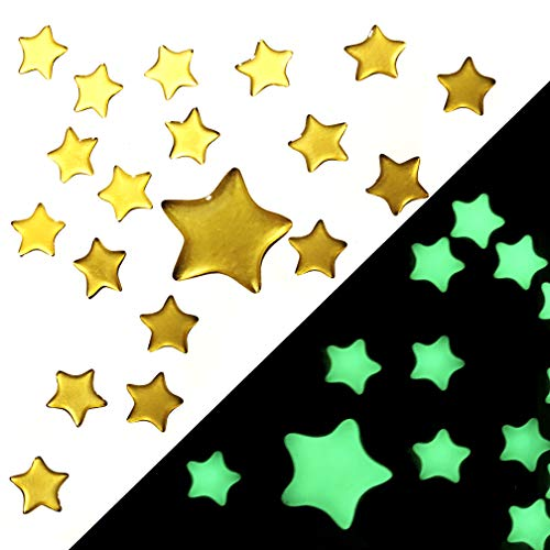 Improved - Super Bright Glow in The Dark Stars - Self Adhesive - Pack of 100 - Big and Small Star...