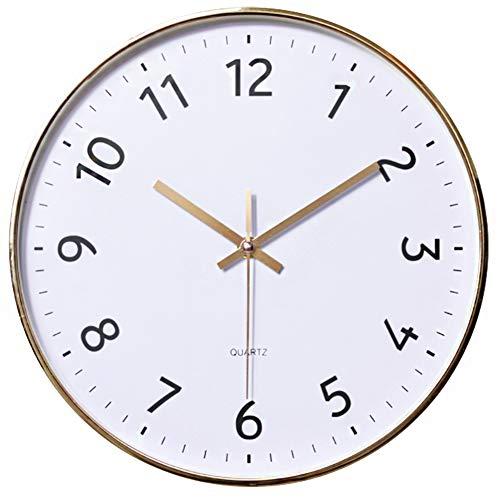 Quarz-Wanduhr, 30,5 cm, geräuschlos, batteriebetrieben, rund, für Wohnzimmer, Schlafzimmer, Büro, Küche, Klassenzimmer E - Gold Weiß