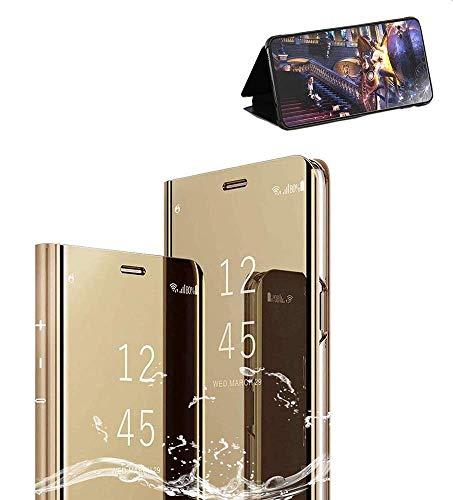 Xinglong Funda Compatible para Samsung Galaxy S7 Edge, Carcase Samsung S7 Edge Flip de Espejo,Inteligente Translucent Case Caso Skin Stand Shell 360°Full Body Protección Plating Cover Oro