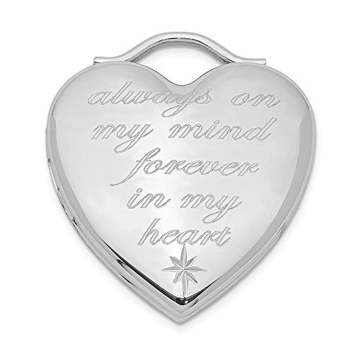 925 Sterling Silver Always On My Mind Forever In Heart Photo Pendant Charm Locket Chain Necklace That Holds Pictures Religious Cross Fine Jewelry For Women Gifts For Her