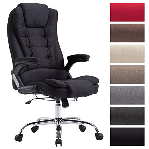 XXL Chefsessel Thor mit Stoffbezug, max. belastbar bis 150 kg, Bürostuhl mit Armlehnen, höhenverstellbar, Drehstuhl mit dickem Polster, Farbe:schwarz