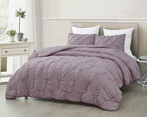Mari 3pc Comforter Set, Stonewashed Pinch Pleat Bed Cover Light Purple   Queen Size Bed