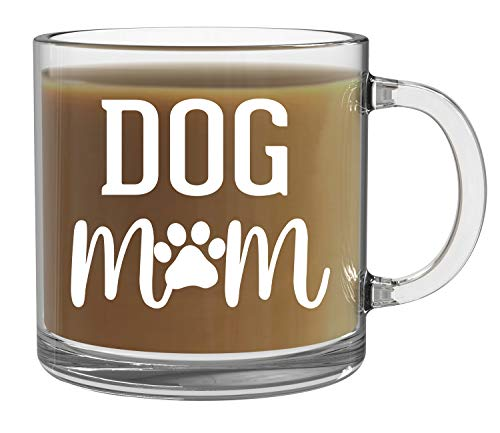 Dog Mom Coffee Mug - Best Dog Mom Ever Mug - 13oz Clear Glass Coffee Mug - Funny Dog Mom Mothers Day Gifts - Dog Gift For Dog Lovers and Women Rescue - Perfect for Tea or Hot Chocolate - By CBT Mugs