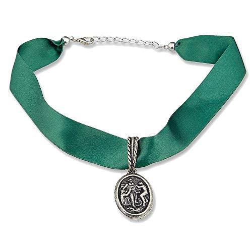 Kette Halskette Edelweiss Trachten Satin Halsband Grün mit silbernem Anhänger