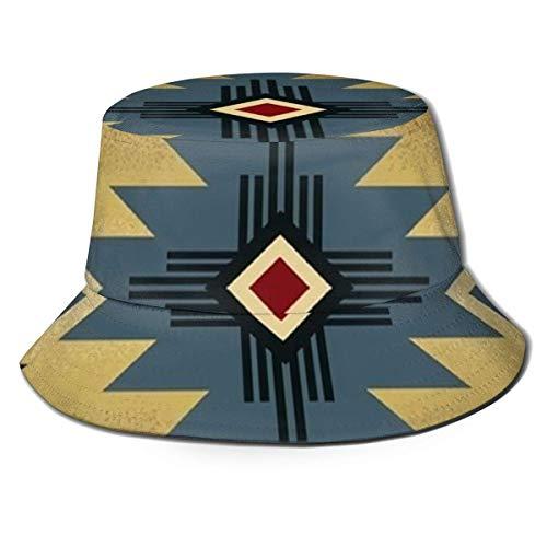Sombrero de Cubo Unisex Sombrero de Cubo de ala Ancha Gorra de Pescador de Verano Sombrero de Sol Plegable de Moda Patrón de Manta de Silla de Montar nativa Americana