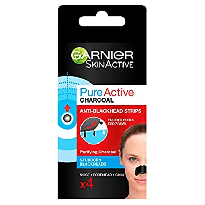 Garnier Pure Active Intensive Anti-Blackhead Charcoal Nose Strips, 4-Piece