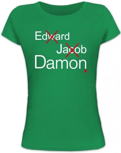 Shirtstreet24, Vampire Damon, Vampir Vampire Lady/Girlie Funshirt Fun T-Shirt, Größe: L,Kelly Green