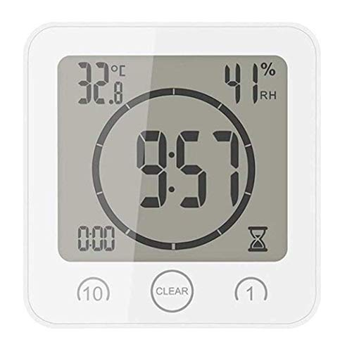 HCFSUK Thermomètre ambiant électronique LCD numérique hygromètre hygromètre Station météo Aquarium Salle de Bain intérieure avec réveil
