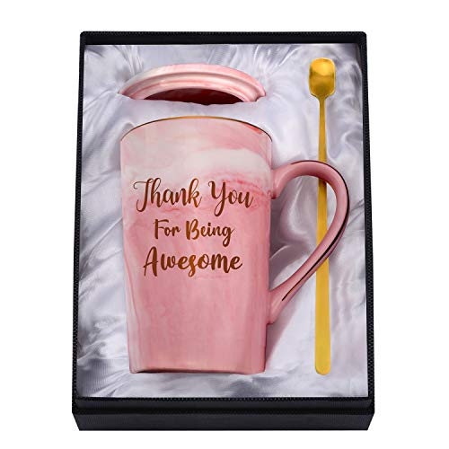 Youerls Thank You Mug - Thank You Gifts and Appreciation Gifts for Women - Thank You for Being Awesome - Birthday Christmas Mother's Day Mug Gifts for Her Friends Mom Sister Pink Ceramic Coffee Cup