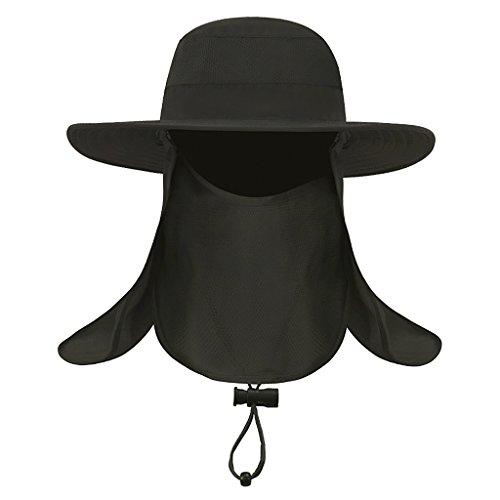 YJZQ Homme Visière Eté Plage Voyage UPF UV Femme Chapeau Casquette à Visière Anti-Soleil Pliable Mask Pêcheur Camping Randonnée