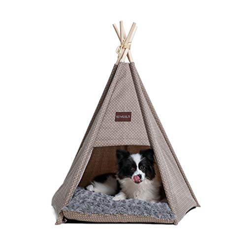 KEMULUS 31 inch Dog House Portable Pet Teepee for Dog&Cat Machine Washable Cute Dog Teepee Bed with Cushion Cat Tipi Bed Indoor Dog Tent Pet Bed Up to 30 Lbs