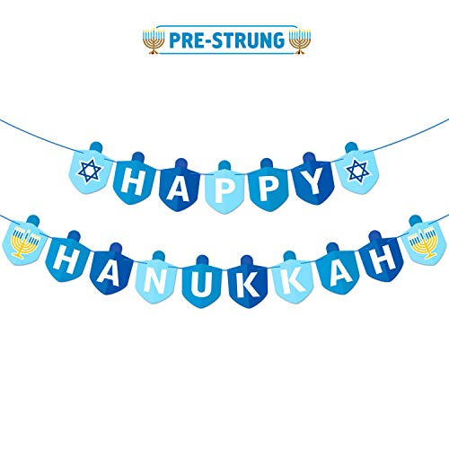 Bessmoso Hanukkah Decorations Party Banner Holiday Party Dreidel Garland Chanukah Festival Day Supplies Blue Illumination Party Family Gathering Decorations