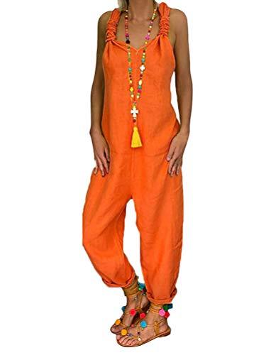 Tomwell Damen Beiläufig Latzhose Jumpsuits Bib Hose Leinen Einfarbig Casual Loose Overall Rompers Lange Wide Leg Hosen A Orange 38