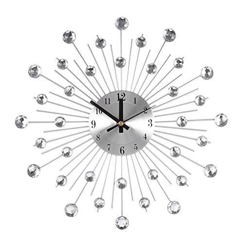 Verdelife Kristall Wanduhr - Modernes Kristall Stummes Uhrdekor, für Wohnzimmer Hoteldekoration