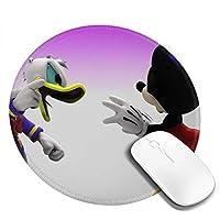 ドナルドダックとミッキーマウスが遊んでいます マウスパッド 円形 おしゃれ 高級感 ゲーミング オフィス最適 滑り止めゴム底 耐久性が良 付着力が強い 直径20cmx厚い0.3cm