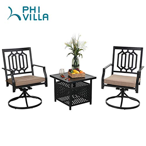 PHI VILLA 3 PCS Patio Swivel Set Outdoor Metal Steel Furniture Set of 3 with 2 Swivel Dining Chairs and Umbrella Side Square Table