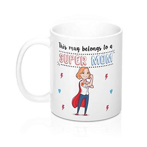 Queen54ferna Tazas para mamá Esta taza pertenece a una súper mamá desayuno 11 oz taza de cerámica café té regalo original regalo 11 oz