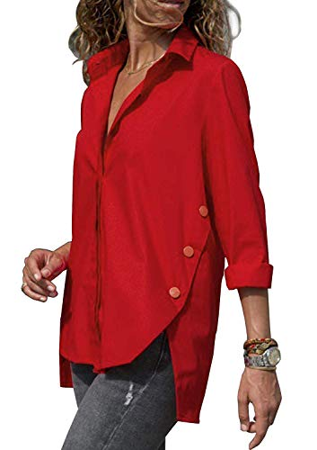 Minetom Blusa Mujer Casual Camiseta Cuello V Manga Larga Camisas Chic Suelto Botón Solapa Camisa T-Shirt Tops Color Sólido Túnica Rojo ES 46