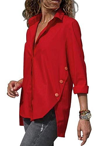 Minetom Chemisier Femme Manches Longues T-Shirt Mode Oversized Tunique Col V Bouton Tops Blouse Chic Printemps Automne Casual Hauts Rouge FR 40