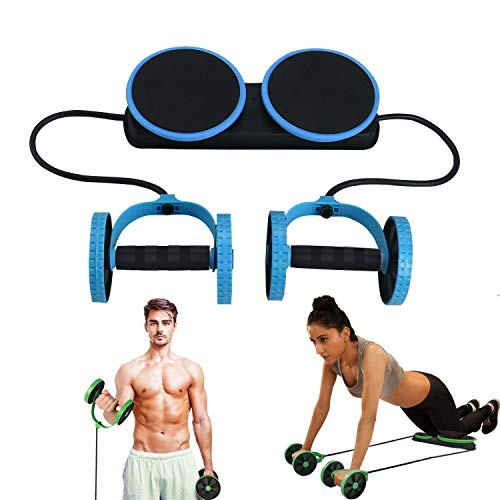 Lurowo Multi Function Ab Roller Wheel,New Version Abdominal Wheel Muscle Trainer Exercise Equipment Pull Rope Sports Machine Arm Abdomen Workout Fitness Roller Home Gym Training Tool,Blue