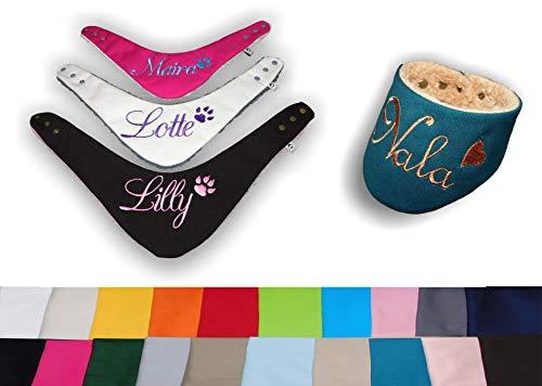 LunaChild Handmade Hundehalstuch mit Namen creme Canvas Größe XXS XS S M L XL XXL WUNSCHNAME Wendetuch Halstuch Hund Tuch Name Hundehalstuch