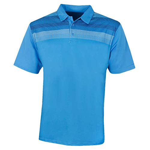 Island Green Heren Golf Gedrukte Lijn Detail Ademende Vocht Wicking Thermische Flexibele Polo Shirt Top