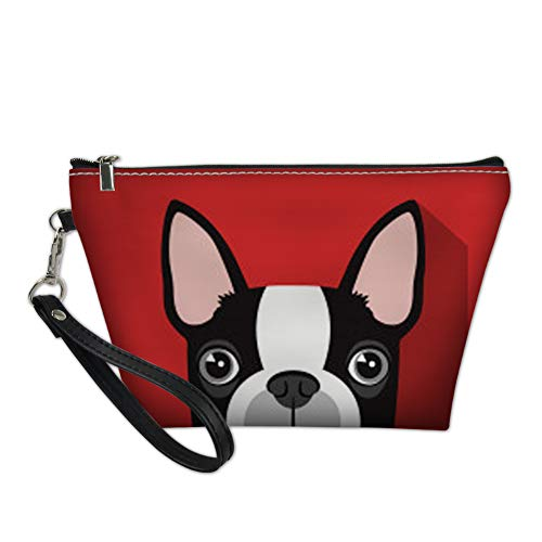 PZZ BEACH Women Travel Toiletry Pouch Funny Boston Terrier Pattern Handle Makeup Bag Waterproof Clutch Bags,Red