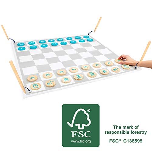 Small Foot 12026 Jouet pour Femme et échec, 100 % Bois certifié FSC, pour Adultes et Enfants, Jeu d'extérieur à partir de 3 Jouets, Multicolore