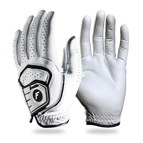 Franklin Sports Golf Glove - Pro Golf Gloves - Premium Leather Golfing Glove - Maximum Grip - White - Left Hand Glove - Adult Medium
