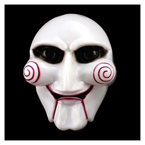 MOLUO Aplicar para Máscara de Halloween Llegada Sierra de Marionetas máscara de la Mascarada del Traje de Billy Jigsaw Atrezzo Máscaras Ambiente Festivo Suministros (Color : White)