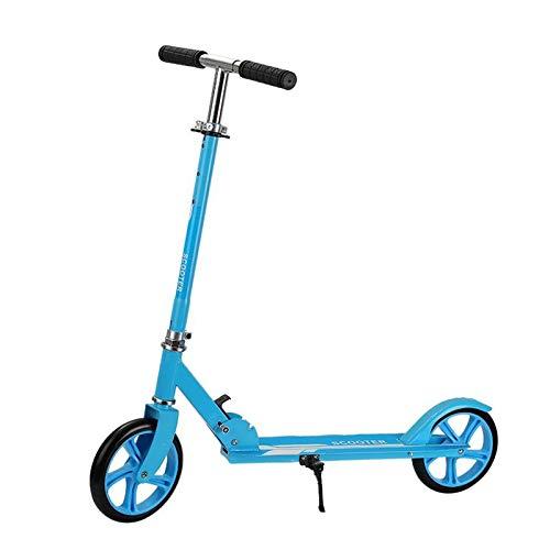 Hou Hexin Trade Scooter 2 Ruedas para Niños De 8 A 30 Años De Scooter Plegable Ajustable En 3 Niveles para Niñas Y Niños (Color : Blue)