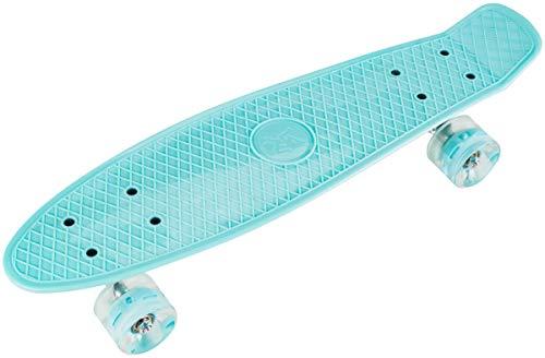 HyperMotion Skateboard für Kinder und Jugendlichen | Retro Board 56 x 15 cm, 22 Zoll mit ABEC-7 Kugellager | LED-Räder 60 x 45 mm | Härte 80A | Material 100% Kautschuk | Blau