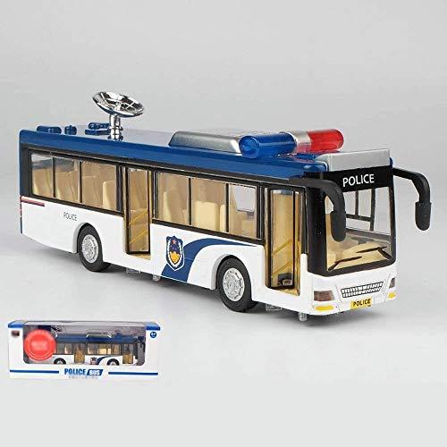Zhangl Infantil Policía autobús Modelo de Coche de aleación Anti-caída autobús Toy Car Sound and Light Coche de Metal de autobús en Caja Regalo del Coche policía de Coches de Juguete