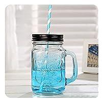 QIXIAOCYB 5ピースガラスの飲みの瓶の蓋と再利用可能なストロー、ハンドル、スムージービールのコーヒーカップ、ナッツ穀物の穀物の貯蔵タンク450ml / 16oz、5紫色のガラスカップ (Color : Five Blue Glass Cups)
