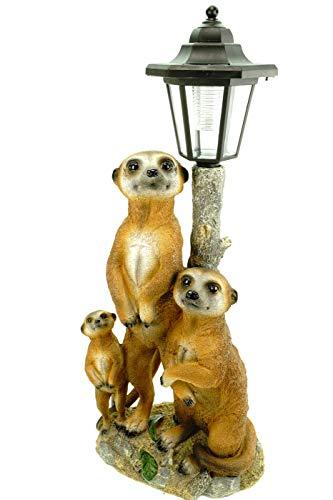 Udo Schmidt Erdmännchen Familie mit Solarlaterne Figur Gartenfigur 51 cm Erdmännchenfamilie