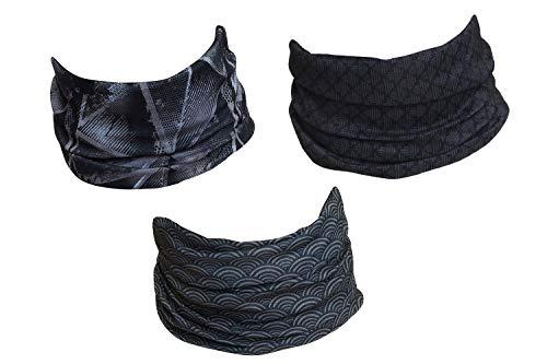 Hilltop Lot de 3 écharpes multifonctions Echarpe tube pour homme, femme et enfant - Tour de cou moto - Cache-cou de sport - Lot de 3 modèles fashion