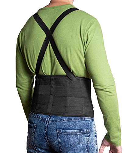 JeVx Faja Lumbar para la Espalda REFORZADA DOBLE CIERRE Y TIRANTES - Talla XXXL para Hombre Cinturon Elastico Reforzado para Trabajo y Deporte Corrector de Postura Ajustable Abdominal Dolor Compresora