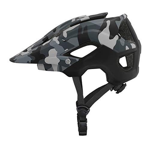 Casco unisex para adulto todo terreno, ultraligero, con orificios de ventilación transpirables, PC+EPS casco de seguridad para bicicleta de montaña/carretera, scooter (camuflaje gris verde, L)