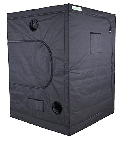 Zazzy Hydroponic Grow Tent, 60'x60'x78' Heavy Duty Dark Room Grow Tent Reflective Mylar Grow Tent With Window & Floor Tray For Indoor Plant Growing