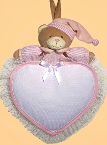 fiocco nascita orso cuore (Rosa)