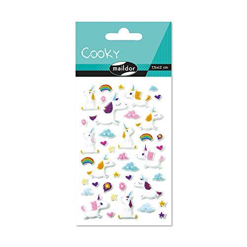 Maildor CY063O Packung mit Stickers Cooky 3D (1 Bogen, 7,5 x 12 cm, ideal zum Dekorieren, Sammeln oder Verschenken, Einhorn) 1 Pack