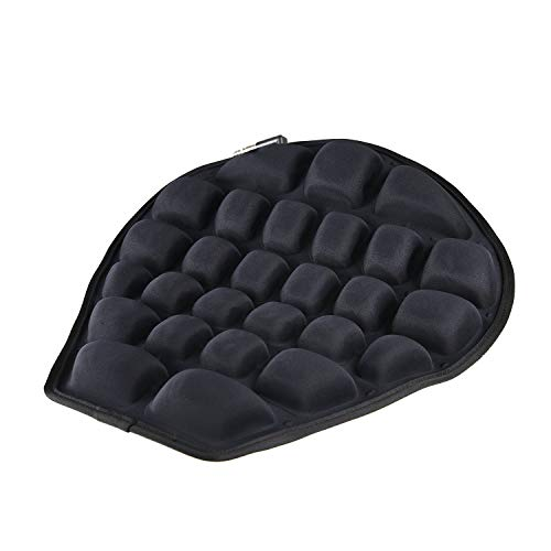 Aquacapsule Air Motorcycle Seat Cushion Pressure Relief Ride Seat Pad Large for Cruiser Touring Saddles, Shock Absorption, Water Inflatable (Black)