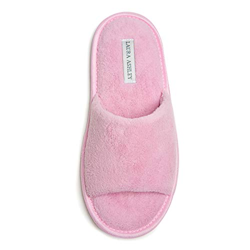 Laura Ashley Ladies Open Toe Plush Terry Slippers (See Colors and Sizes)